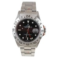 Pre-Owned 2002 Rolex Stainless Steel Explorer II Watch With Black Index Dial 24 Hour Bezel With Oyster Band Model 16570   PRICE - $4200.00