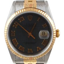 Pre-Owned 2001 Rolex Datejust Watch Two Tone With Steel Roman Dial 18kt Fluted Bezel With Jubilee Band Model 16233    PRICE - $4000.00