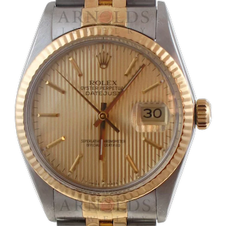 Pre-Owned 1986 Two Tone Rolex Datejust Watch Champagne Tapestry Dial With Fluted Bezel And Jubilee Band Model# 16013   PRICE - $3150.00