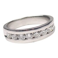 1.00 ctw Diamond Channel Band Ring 14k White Gold
