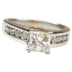 1.50 ctw Princess Diamond Engagement Ring 14k White Gold