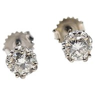 GIA 1.01 ctw Diamond Stud Earrings 14k White Gold