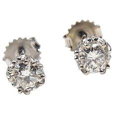 GIA 1.01 ctw Diamond Stud Earrings 14k White Gold