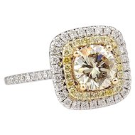 1.70 ctw GIA Diamond Engagement Double Halo Ring 14k Gold