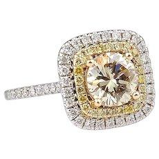 1.70 ctw GIA Diamond Engagement Double Halo Ring 14k Gold