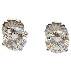 2.57 ctw Diamond Stud Earrings 14k White Gold