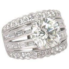 7.07 ctw GIA Diamond Engagement Ring 18k White Gold