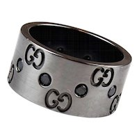 Gucci Icon .30 ctw Black Diamond Designer Band