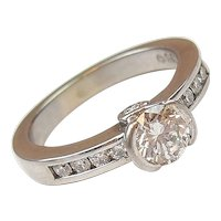 .80 ctw Diamond Engagement Ring 14k White Gold