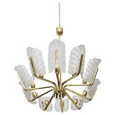 Vintage 1960s Pendant Chandelier with Glass Shades and Brass Fittings