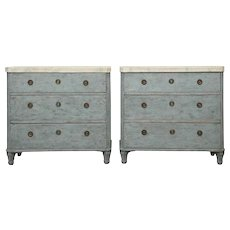 Pair of Antique Swedish Gustavian Style Painted Chests, 19th Century