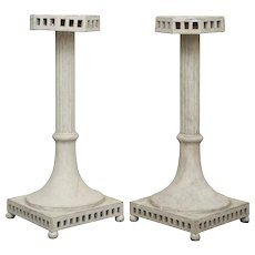 Pair of Antique Swedish Gustavian Painted Pedestals, Mid-19th Century
