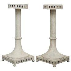 Pair of Antique Swedish Gustavian Painted Pedestals, Mid-19th Century