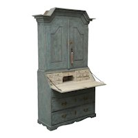 Antique Swedish Baroque Secretary Painted Blue, Late 18th Century