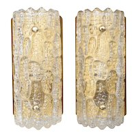 Pair Orrefors Crystal Wall Sconces