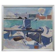 Impressionist Harbor Scene Signed Harold Hansen, 1936