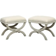 Pair Antique Swedish Gustavian Style Painted X-base Stools, Early 19th Century