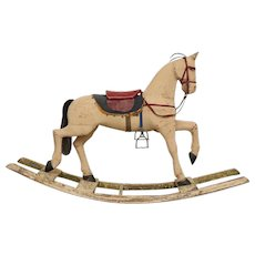 Antique Swedish Painted Rocking Horse by Gemla Mobler