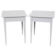 Pair of Antique Swedish Gustavian Style Painted Side Tables, Late 19th Century