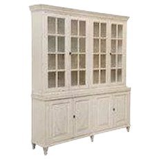 Antique Swedish Gustavian Style Painted Four Door Glass Cabinets, 19th Century