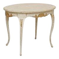Antique Swedish Rococo Carved Oval Table Gold Leaf Details, Late 18th Century