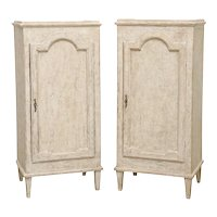 Pair of Antique Swedish Gustavian Painted Storage Cabinets, Early 19th Century