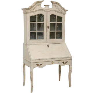 Swedish Baroque Secretary Display Cabinet Painted White Late 18th Century