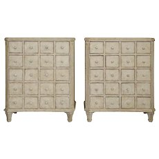Pair of Antique Swedish Gustavian Painted Apothecary Chests, Mid-19th Century