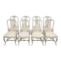 Set of Eight Antique Swedish Baroque Style Painted Dining Chairs