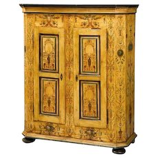 North Italian polychrome painted armoire