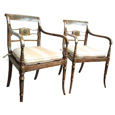 Pair of Period Regency Painted Armchairs
