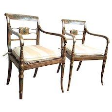 Pair of Period Regency Painted Armchairs