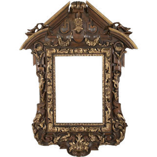 Carved and parcel gilt mirror