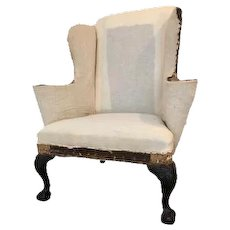 Carved Mahogany Wing Armchair