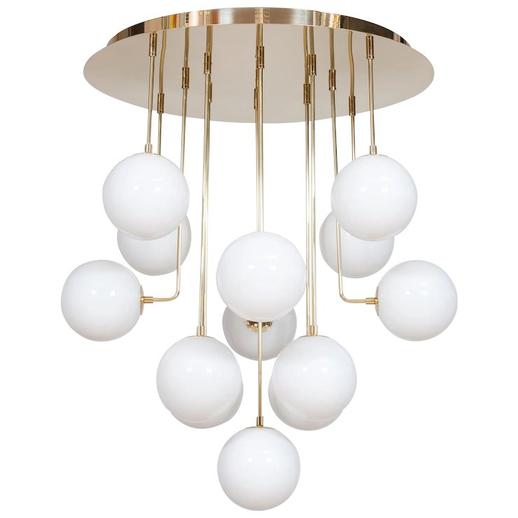 Italian Modern Chandelier In White Murano Glass With Brass Frame