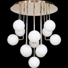 Italian Modern Chandelier in white Murano Glass with Brass Frame
