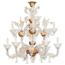Italian Ca'rezzonico Chandelier in Murano Glass transparent and 24K Gold