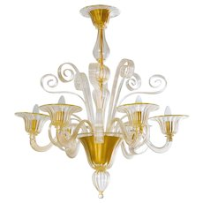Modern Italian Chandelier in Murano Glass 24K Gold