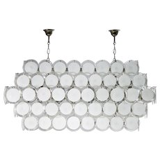 Italian Chandelier in white Murano Glass, Mazzega 1980s,