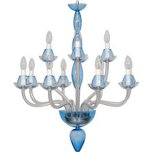Vintage Modern Italian Chandelier in Murano Glass Transparent and Light-Blue