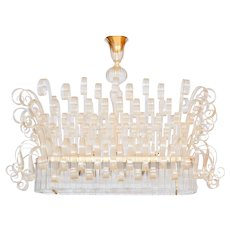 Italian Chandelier in Murano Glass, Transparent, 24K gold