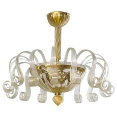 Italian Chandelier In Murano Glass 24K Gold, 1950s