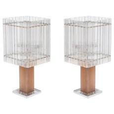 Pair of Italian Table lamps in Murano Glass, from 1980s