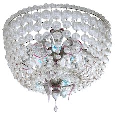 "Italian Chandelier ""Basket"" in Murano glass, 1960s"