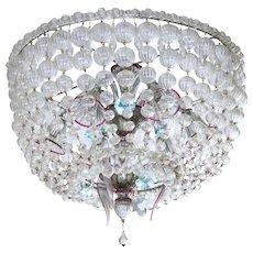 """Italian Chandelier """"Basket"""" in Murano glass, 1960s"""