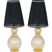 Pair of Italian Table lamps in Murano Glass 24K Gold, 1980s