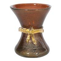 Italian Vase in Murano Glass in 24K Gold and amber, Artisti Barovier 1930s.