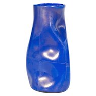 """Italian """"crumpled"""" Vase in Murano Glass 24K Gold and blue"""