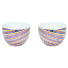 Italian pair of bowls in Murano Glass multicolor, Cenedese 1970s