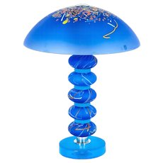 Italian Table lamp in Murano Glass blue, Cenedese 1970s